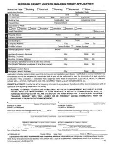 Broward County Unifrom Building Permit Application